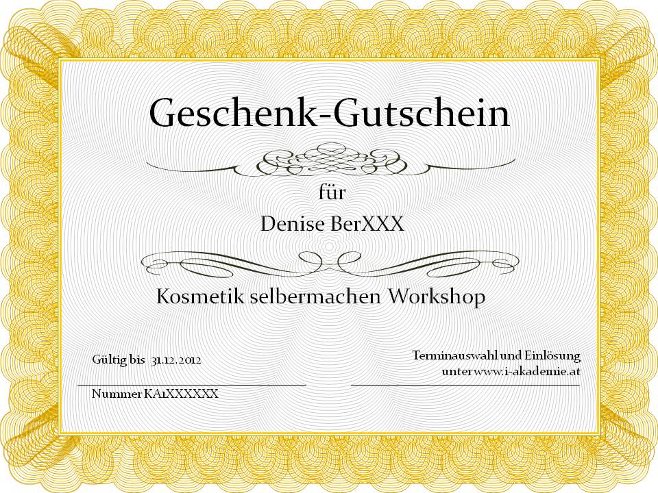 gutschein schenken f r kurse und workshops z b naturkosmetik selbst gemacht i akademie. Black Bedroom Furniture Sets. Home Design Ideas